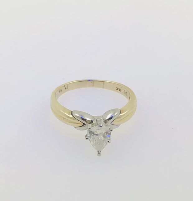 14K Two Tone Yellow Gold Diamond Pear Ring