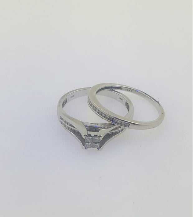 14K White Gold Wedding Diamond  Ring Set