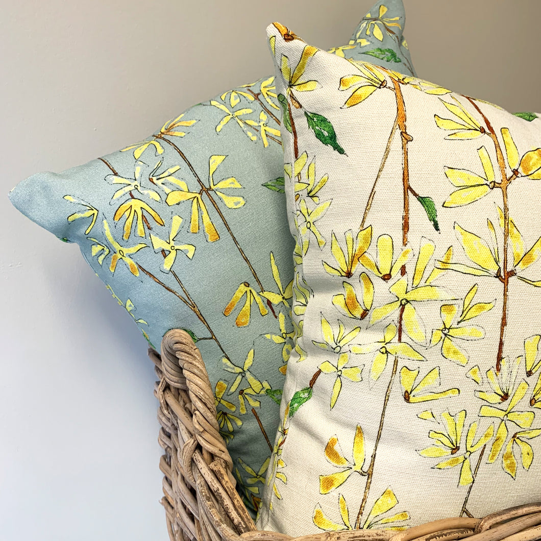 Country Grey Forsythia Cushion