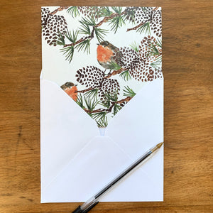 Robin with Twig Greeting Card