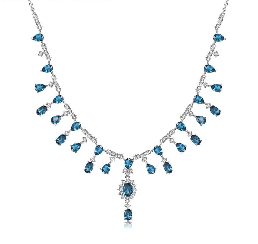 Collar de Topacio Azul London - Cherine Jewelry