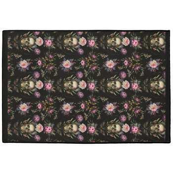 Dark Rich Gothic Floral Wreathed Skull Indoor/Outdoor Floor Mats
