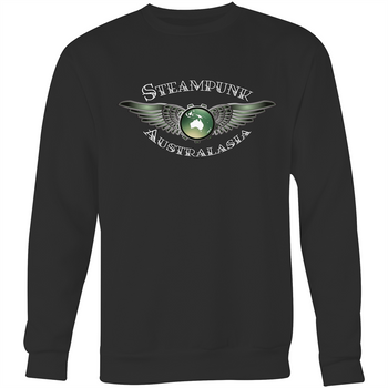 Crew Neck Jumper Sweatshirt Black - Steampunk Australasia Logo - White Text