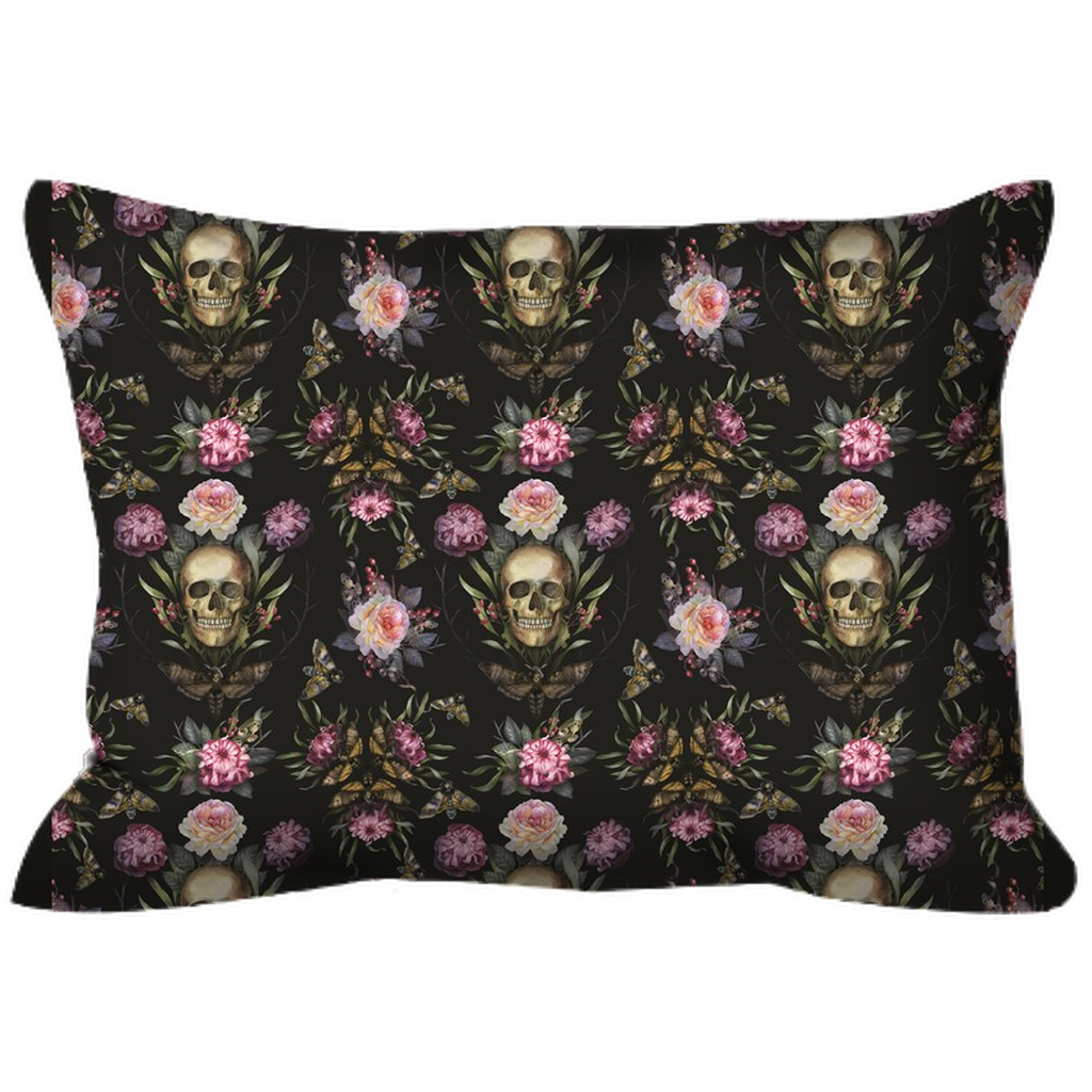 Outdoor Pillows - Dark Rich Gothic Floral Wreathed Skull