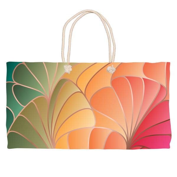 Abstract Green Gold Rose Weekender Totes