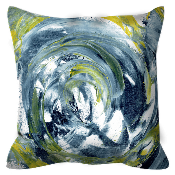 Outdoor Pillows - Abstract Gray Lemon White spirals