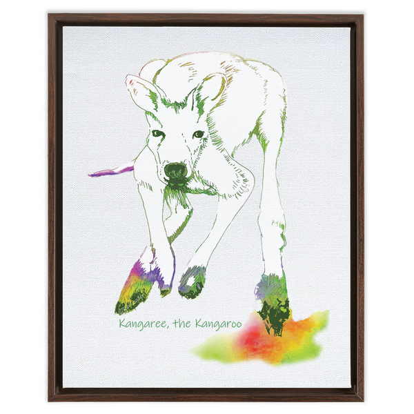 Framed Canvas - Kangaree Crouching - a Billabong Flats Character
