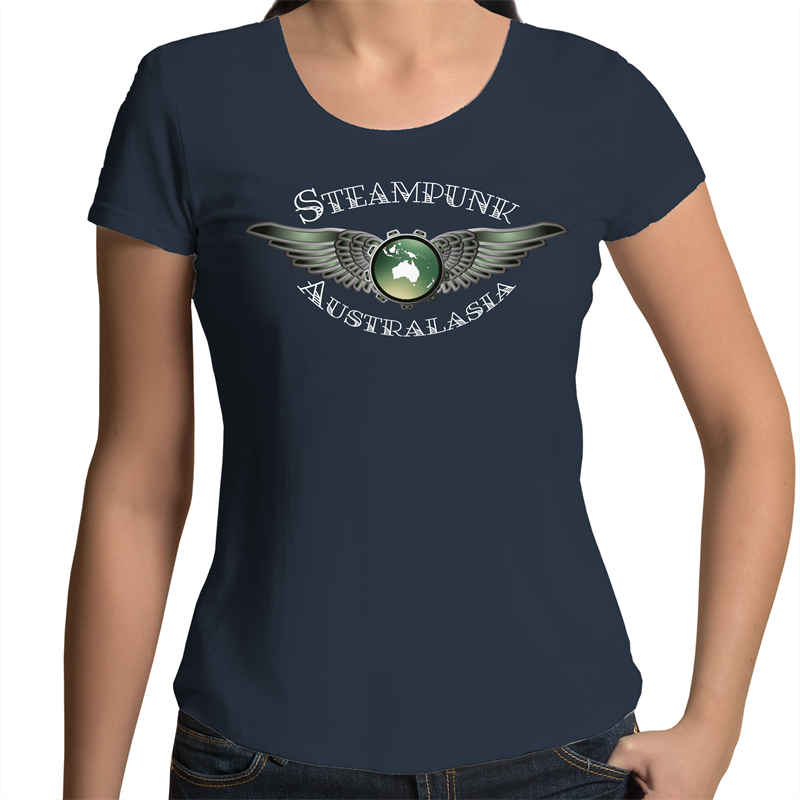 Womens Scoop Neck T-Shirt - Steampunk Australasia Logo White