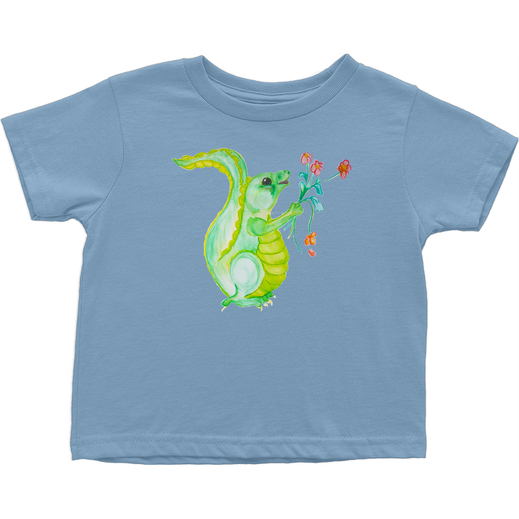 Cute Baby Dragon holding Flowers T-Shirt (Toddler Sizes)