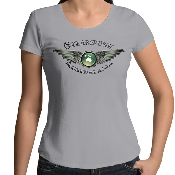 Womens Scoop Neck T-Shirt - Steampunk Australasia Logo