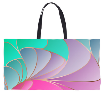 Abstract Teal Lavender Rose Weekender Tote
