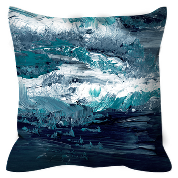 Outdoor Pillows - Abstract Design Teal Gray White Waves