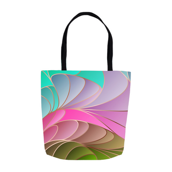 Abstract Teal Lilac Rose Green Tote Bags