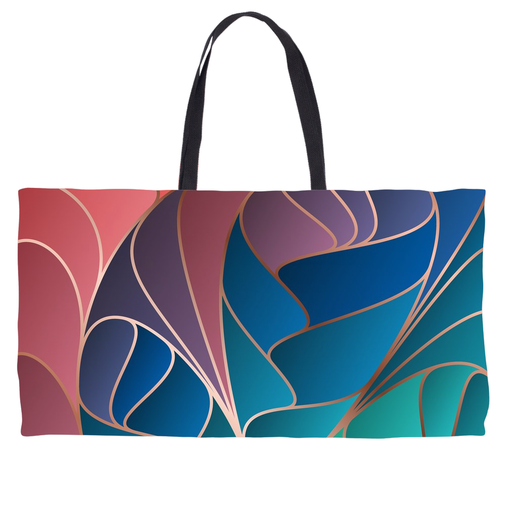 Abstract Rose Blue Gold and Teal Weekender Totes