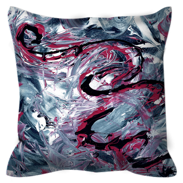 Outdoor Pillows - Original Abstract Design - Gray Hot Pink White