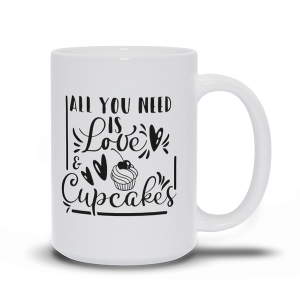 Gift for Mom Friend Family Carer Funny Mug Sayings Working from Home Morning Coffee or Tea Mug All you need is love and cupcakes