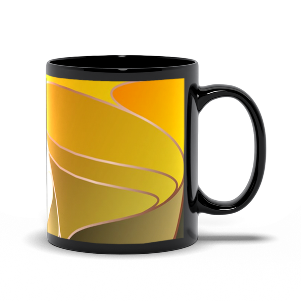 Black Mugs - Abstract Gold and Blue Art Nouveau Design