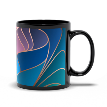 Black Mugs - Abstract Blue Purple Rose Art Nouveau Design