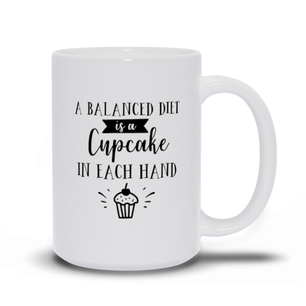Grab your Gift for Mom Friend Family Carer Funny Mug Sayings Working from Home Morning Coffee or Tea Mug- A balanced diet is a cupcake in each hand