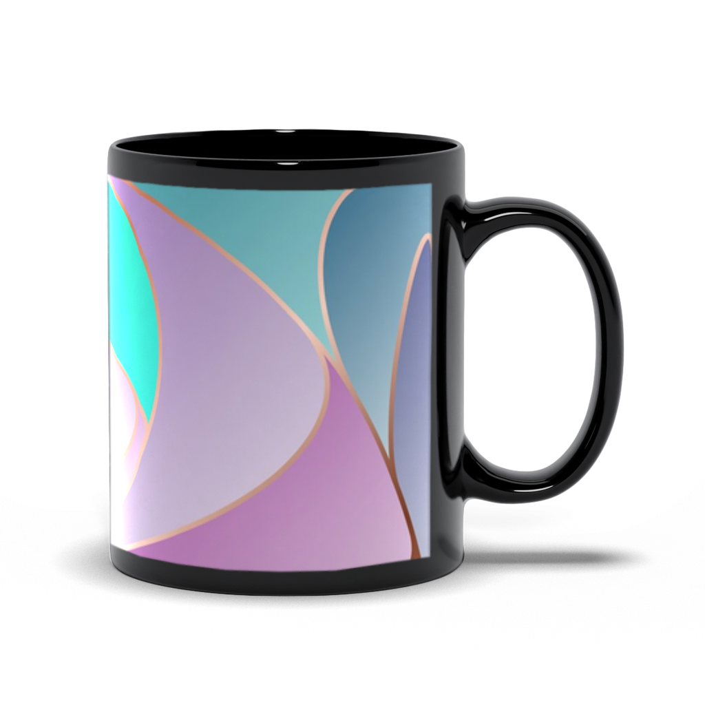 Black Mugs - Lilac Teal Art Nouveau Design
