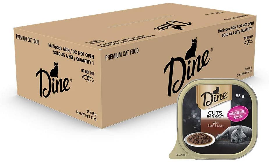 DINE Cuts in Gravy with Beef and Liver Wet Cat Food, Adult, 28 x 85g pack