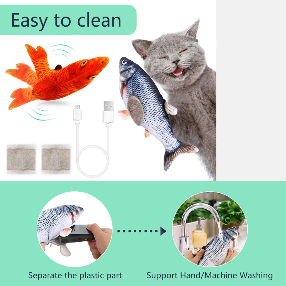 PP OPOUNT 2 Packs Electric Wagging Fish Toy Realistic Moving Fish Toy Dancing Fish Catnip Toys Plush Interactive Cat Toys for Cat Exercise