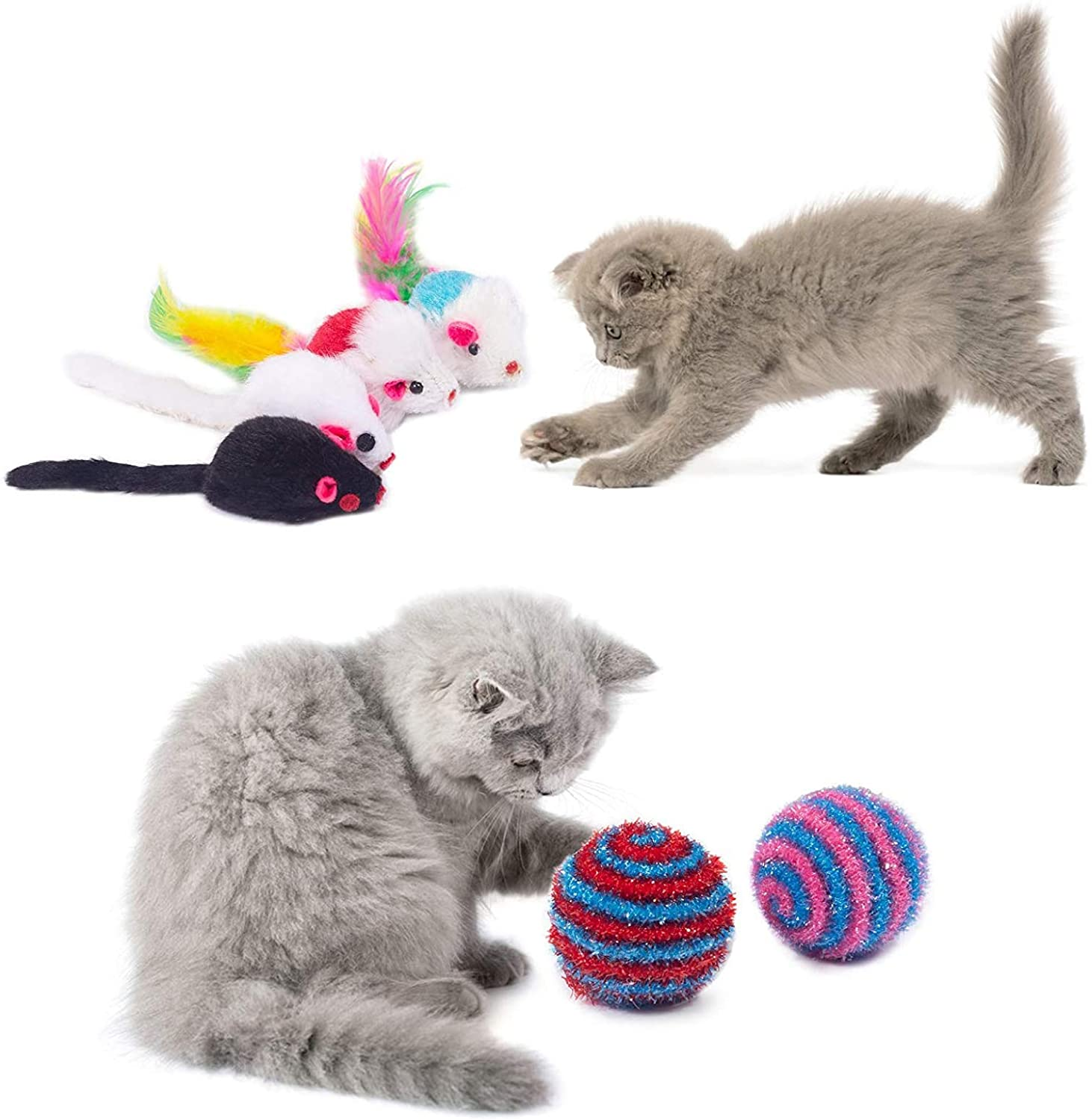 Cat Toys Kitten Toys 29pcs Assorted Cat Tunnel Catnip Fish Feather Teaser Wand Fish Fluffy Mouse Mice Balls and Bells Toys Storage Bag Set Kit Interactive cat Toys cat Feather Toy Mlorine