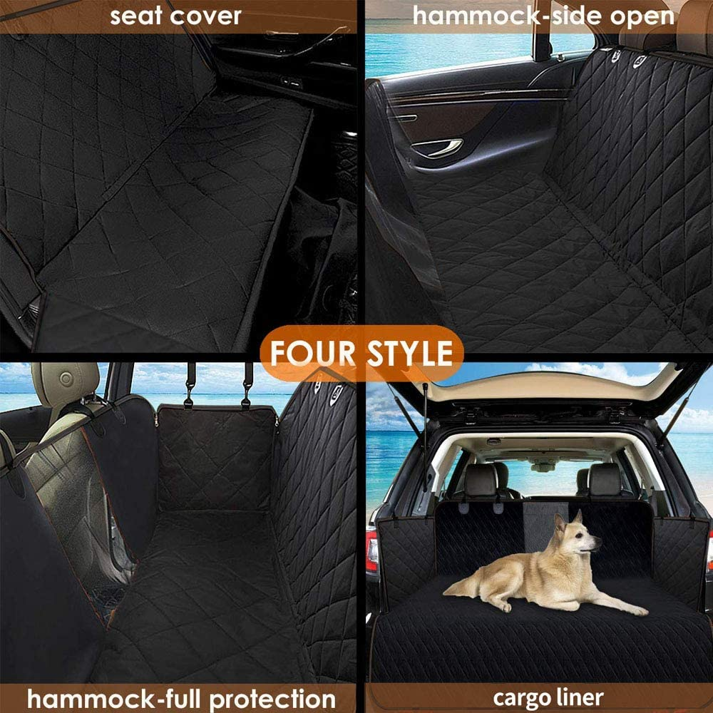 Dog Car Seat Cover, Waterproof Pet Seat Cover with Mesh Visual Window & Seat Belt Opening & Storage Pockets, Wear-Proof Dog Back Seat Hammock for Cars, Trucks and SUV - 147 x 137 cm