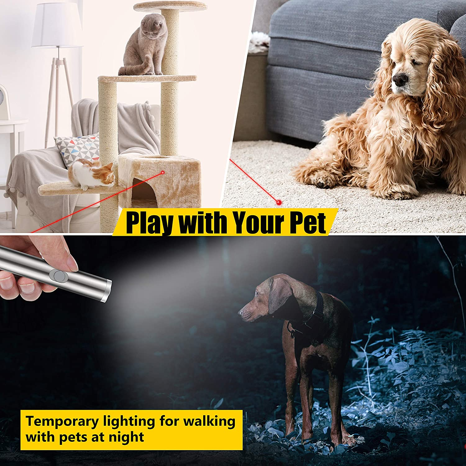 FYNIGO Cat Toys Wand,Interactive Light Toy for Cats and Dogs,2 in 1 Function Red Light Pointer and LED Flashlight,Pet Chaser Toys for Exercise(2 Pack)