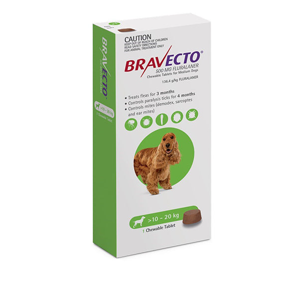 BRAVECTO FOR MEDIUM DOGS 10-20KG (GREEN)