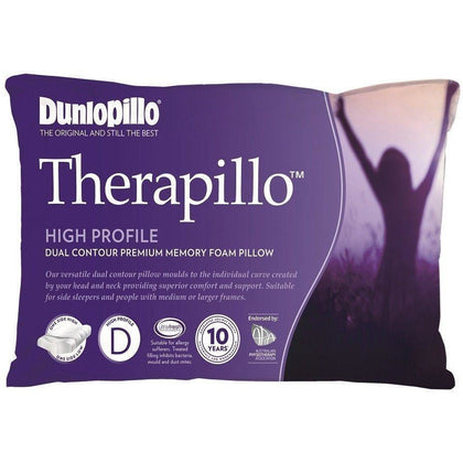 DUNLOPILLO Therapillo High Profile Dual Contour Premium Memory Foam Pillow