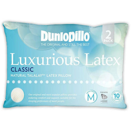 Dunlopillo Luxurious Latex Classic 2 Pack Pillow Medium Profile & Feel Pillow