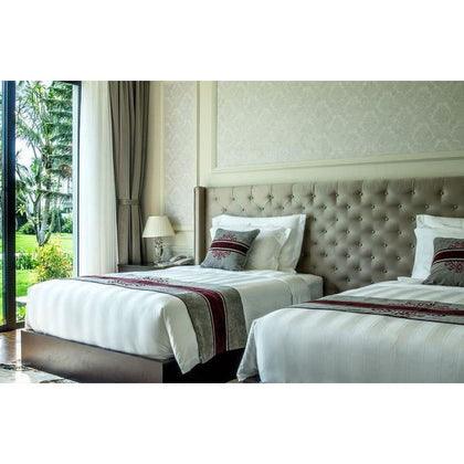 Luxury Hotel Bed Cover Sheets T320 White Cotton 5cm Striped Jacquard All Size