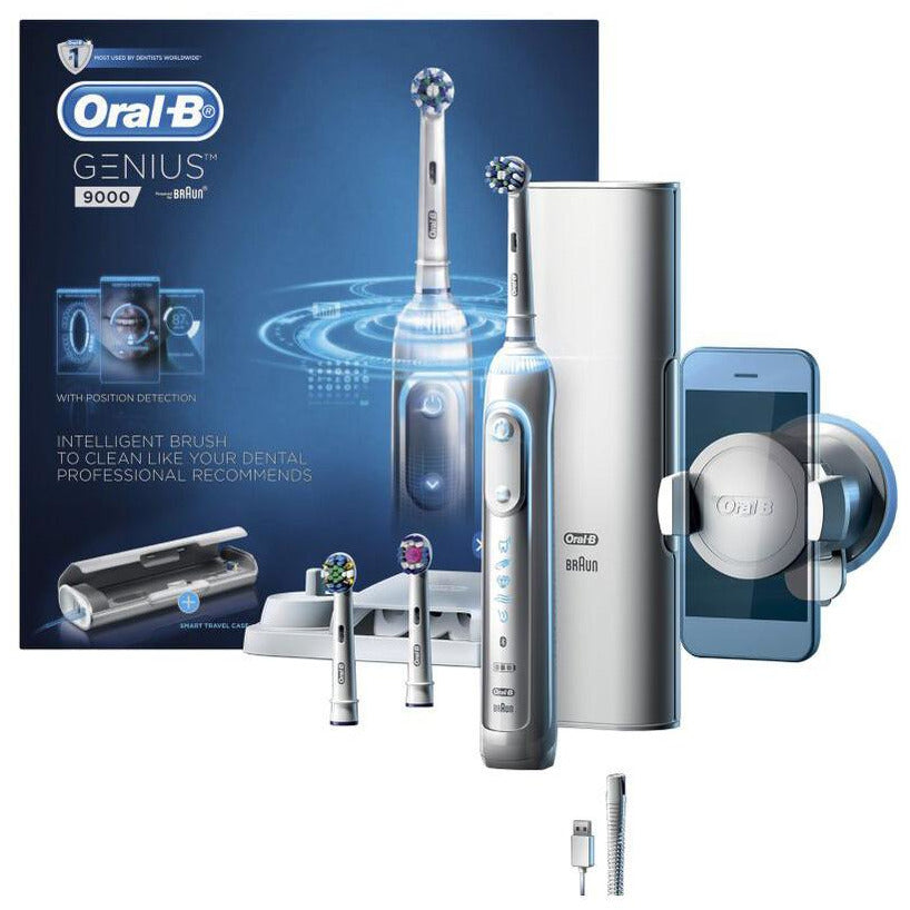 Oral-B Genius 9000 Electric Toothbrush with 3 Replacement Heads & Smart Travel Case White
