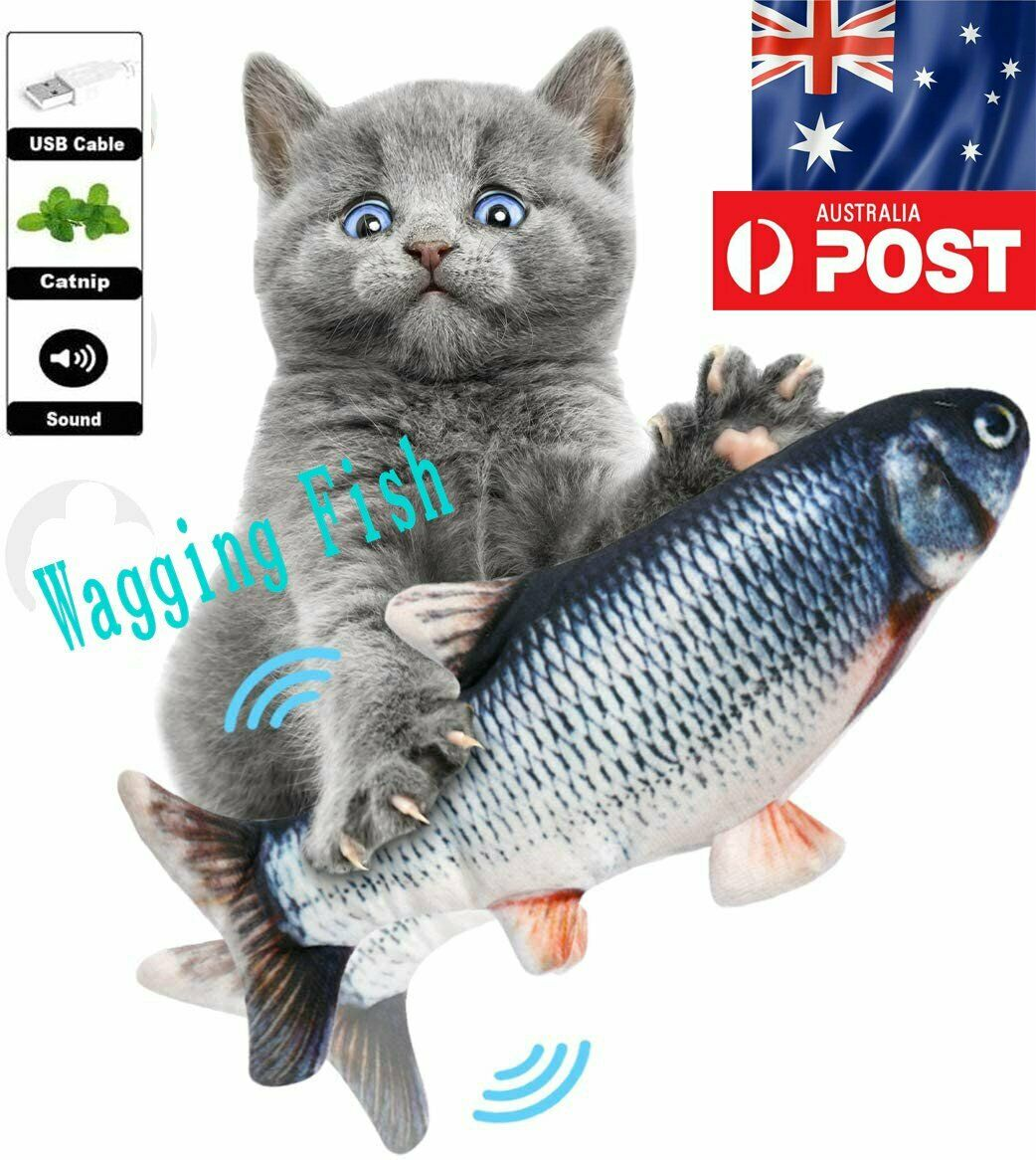 Electric Cat Wagging Dancing Fish Toy Catnip Realistic Moving