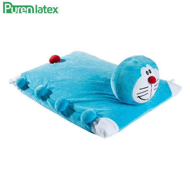 PurenLatex 60*40*7 Cartoon Children Kids Baby Natural Latex Pillow  Neck Spine Protect