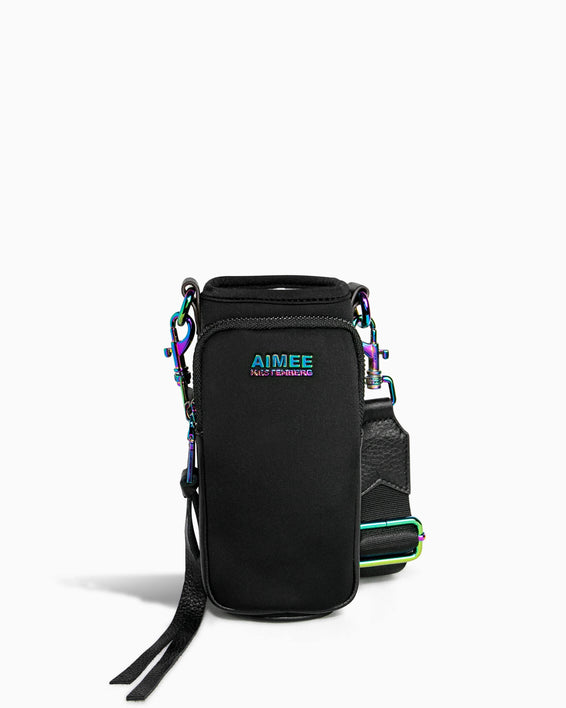 On Top Of The World Water Bottle Crossbody - black with iridescent front
