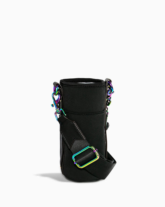 On Top Of The World Water Bottle Crossbody - black with iridescent front back