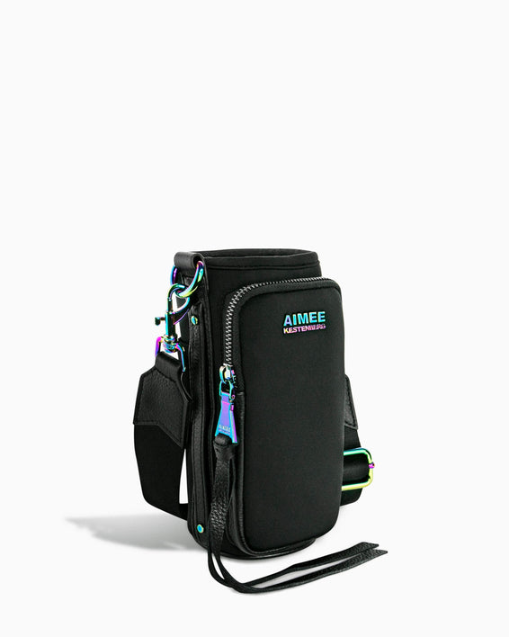 On Top Of The World Water Bottle Crossbody - black with iridescent side angle