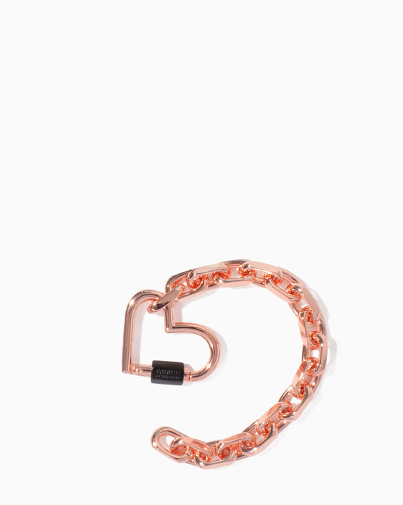 It's A Love Thing Heart Chain Bracelet Rose Gold - open