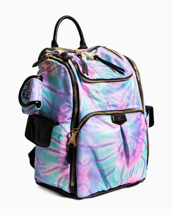 Baby Got Back Baby Bag - spiral tie dye side angle