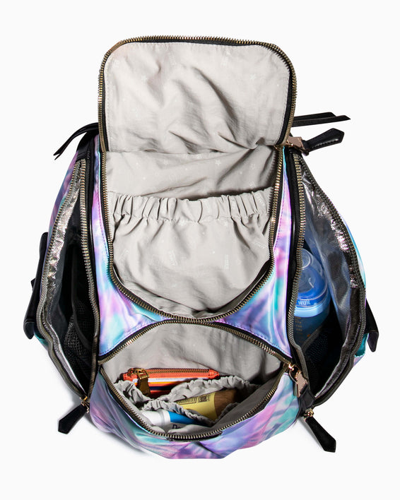 Baby Got Back Baby Bag - spiral tie dye interior functionality