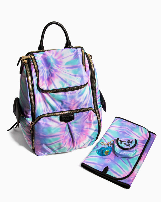 Baby Got Back Baby Bag - spiral tie dye changing mat