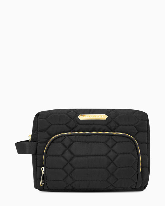 Isabela Large Cosmetic Bag - black with gold hardware front