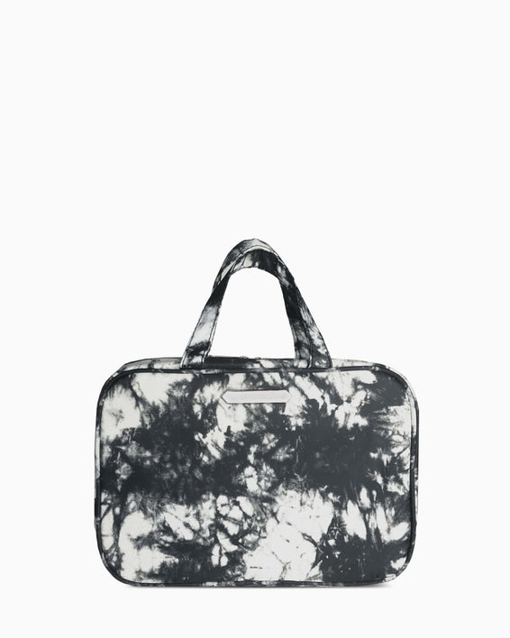 Jenna Hanging Cosmetic Bag - black tie dye front