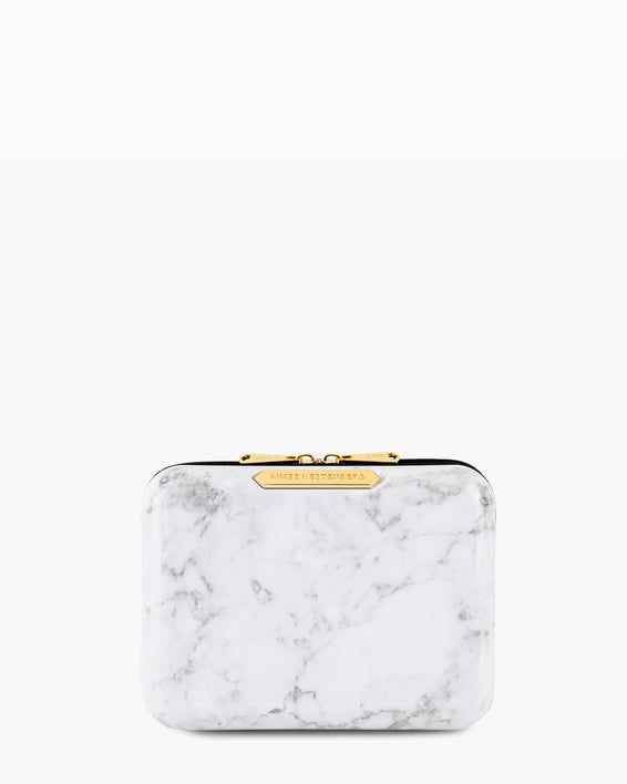 Small Hard Case Cosmetic Bag - marble front