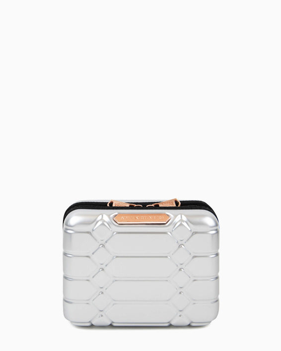 Small Hard Case Cosmetic Bag - silver front