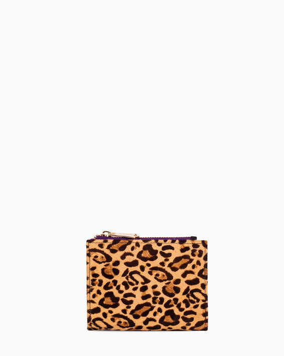 Dusk Till Dawn Bifold Wallet - small leopard haircalf front