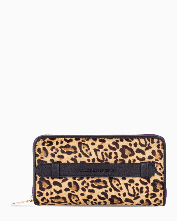 Dusk Till Dawn Large Zip Around - Small Leopard Haircalf Front