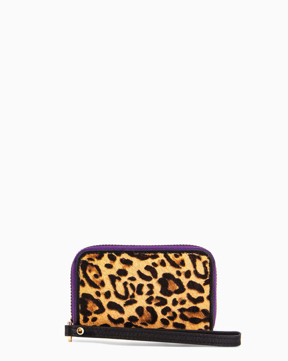 Dusk Till Dawn Zip Around Card Case - small leopard haircalf front